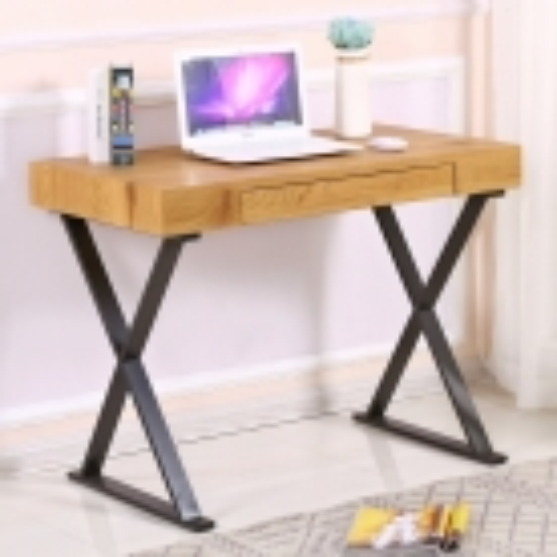 Schreibtisch LONDON Eiche mit Schublade & Eisengestell Schwarz 100cm x 55cm - 2