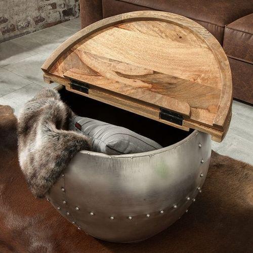 Industriedesign Couchtisch PULIM Natur aus Mangoholz und pulverbeschichtetes Metall mit Schweißnieten 68cm Ø - 2