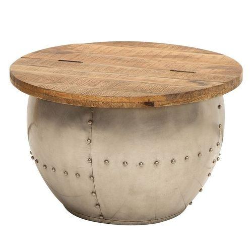 Industriedesign Couchtisch PULIM Natur aus Mangoholz und pulverbeschichtetes Metall mit Schweißnieten 68cm Ø - 3