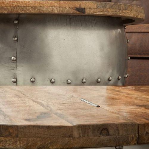 Industriedesign Couchtisch PULIM Natur aus Mangoholz und pulverbeschichtetes Metall mit Schweißnieten 68cm Ø - 4