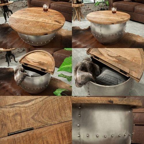 Industriedesign Couchtisch PULIM Natur aus Mangoholz und pulverbeschichtetes Metall mit Schweißnieten 68cm Ø - 5