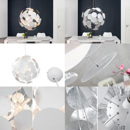 XL Hängelampe PLATO Weiß-Silber aus 50 Metallscheiben 70cm Ø - 3