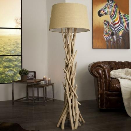Stehlampe KEMANG Beige aus Treibholz handgefertigt 155cm Höhe - 1