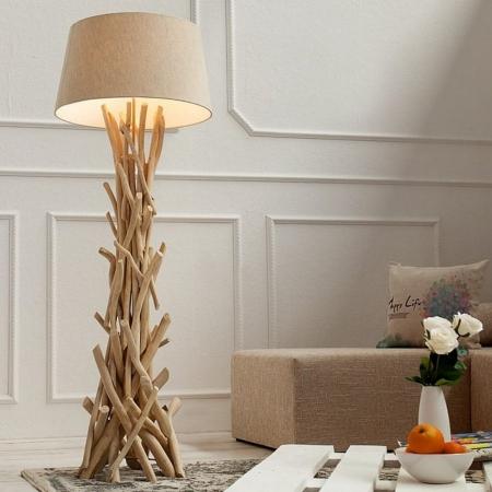 Stehlampe KEMANG Beige aus Treibholz handgefertigt 155cm Höhe - 2