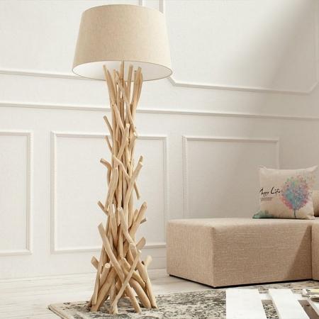 Stehlampe KEMANG Beige aus Treibholz handgefertigt 155cm Höhe - 3