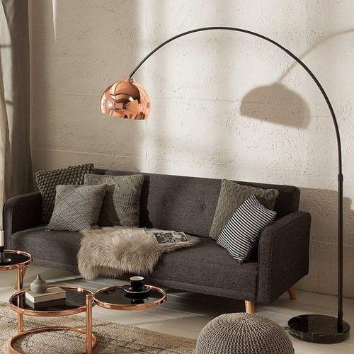 Bogenlampe LUXX Rosegold glänzend mit Marmorfuß Schwarz 170-210cm Höhe - 1