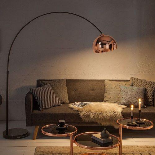 Bogenlampe LUXX Rosegold glänzend mit Marmorfuß Schwarz 170-210cm Höhe - 2