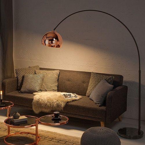 Bogenlampe LUXX Rosegold glänzend mit Marmorfuß Schwarz 170-210cm Höhe - 3