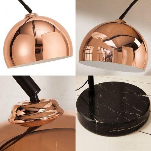 Bogenlampe LUXX Rosegold glänzend mit Marmorfuß Schwarz 170-210cm Höhe - 5