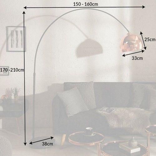 Bogenlampe LUXX Rosegold glänzend mit Marmorfuß Schwarz 170-210cm Höhe - 6