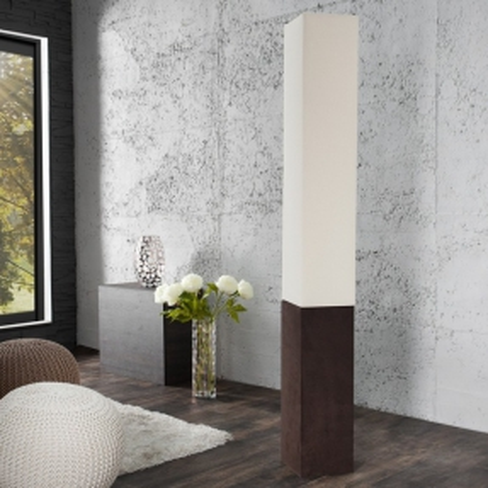 Stehlampe LOOP Beige aus Leinen & Kunstleder eckig 160cm Höhe - 1