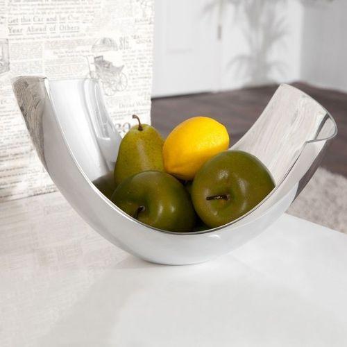 Außergewöhnliche Design Obstschale CLEO Silber aus poliertem Aluminium 30cm - 1