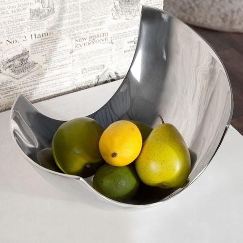 Außergewöhnliche Design Obstschale CLEO Silber aus poliertem Aluminium 30cm - 2