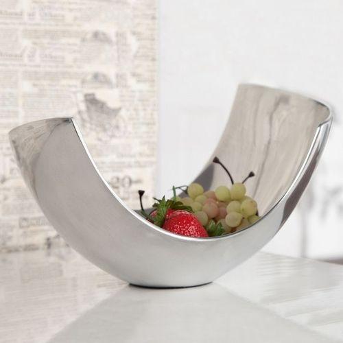 Außergewöhnliche Design Obstschale CLEO Silber aus poliertem Aluminium 30cm - 3