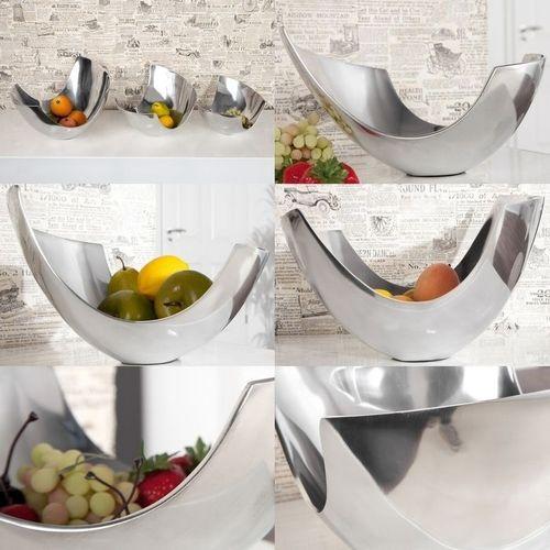 Außergewöhnliche Design Obstschale CLEO Silber aus poliertem Aluminium 30cm - 4