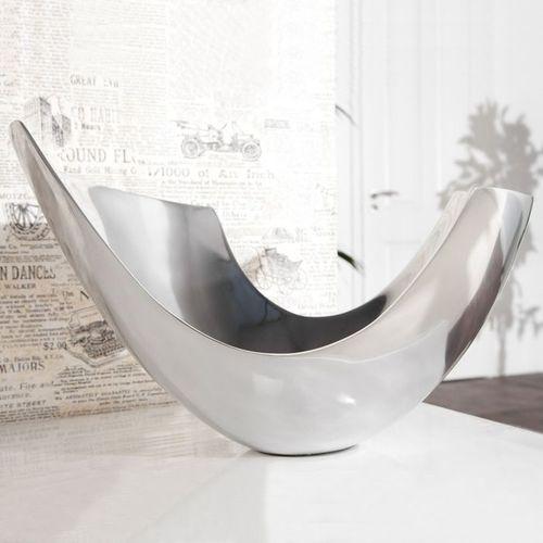 Außergewöhnliche Design Obstschale CLEO Silber aus poliertem Aluminium 35cm - 1