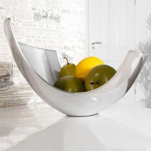 Außergewöhnliche Design Obstschale CLEO Silber aus poliertem Aluminium 35cm - 3