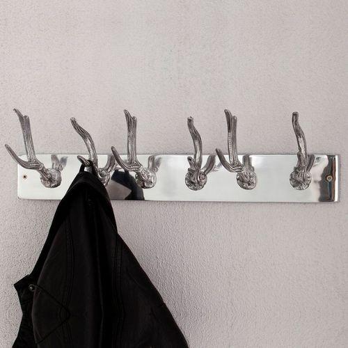 Deko Wandgarderobe Hirschgeweih MAGNUS Silber mit 6 Haken aus poliertem Aluminium 50cm Länge - 1