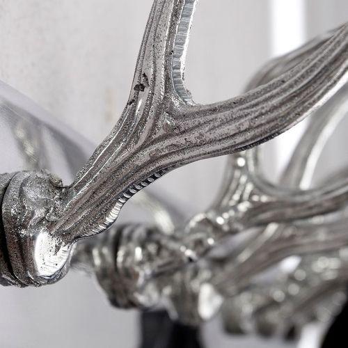 Deko Wandgarderobe Hirschgeweih MAGNUS Silber mit 6 Haken aus poliertem Aluminium 50cm Länge - 2