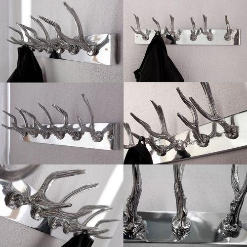 Deko Wandgarderobe Hirschgeweih MAGNUS Silber mit 6 Haken aus poliertem Aluminium 50cm Länge - 3