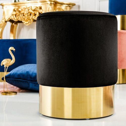 Sitzhocker POMPIDOU Schwarz aus Samtstoff mit Gold Metallsockel in Barock-Design 35cm x 41cm - 1