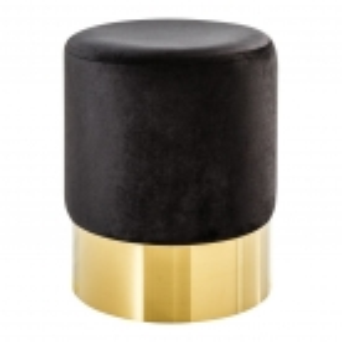 Sitzhocker POMPIDOU Schwarz aus Samtstoff mit Gold Metallsockel in Barock-Design 35cm x 41cm - 2