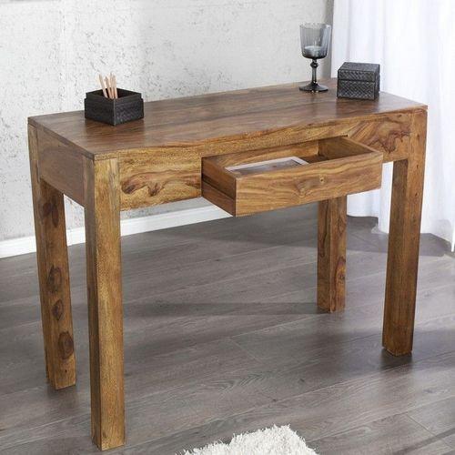 Schreibtisch AGRA mit Schublade Sheesham massiv Holz gewachst 100cm x 40cm - 1