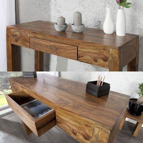 Schreibtisch AGRA mit Schublade Sheesham massiv Holz gewachst 100cm x 40cm - 2