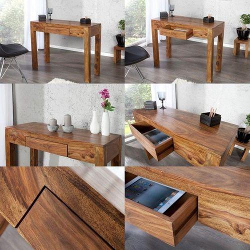 Schreibtisch AGRA mit Schublade Sheesham massiv Holz gewachst 100cm x 40cm - 3