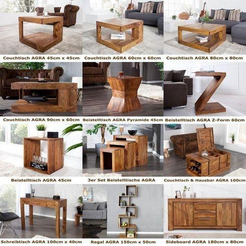 Schreibtisch AGRA mit Schublade Sheesham massiv Holz gewachst 100cm x 40cm - 4