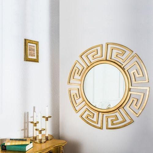Beeindruckender Wandspiegel OLYMP Gold mit griechischen Ornamenten 85cm Ø - 1