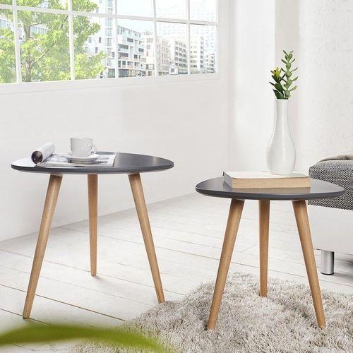 Retro 2er Set Beistelltische GÖTEBORG Graphit-Eiche Plektrum-Form 50/40cm im skandinavischen Stil - 1