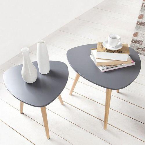 Retro 2er Set Beistelltische GÖTEBORG Graphit-Eiche Plektrum-Form 50/40cm im skandinavischen Stil - 2