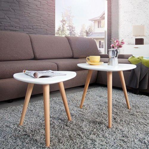 Retro 2er Set Beistelltische GÖTEBORG Weiß-Eiche Plektrum-Form 50/40cm im skandinavischen Stil - 1