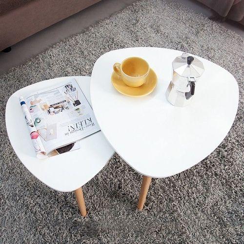 Retro 2er Set Beistelltische GÖTEBORG Weiß-Eiche Plektrum-Form 50/40cm im skandinavischen Stil - 2