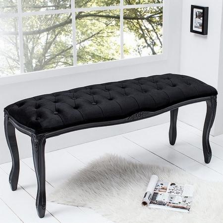 Sitzbank JOSEPHINA Schwarz aus Samtstoff mit Knöpfen in Barock-Design 115cm - 2
