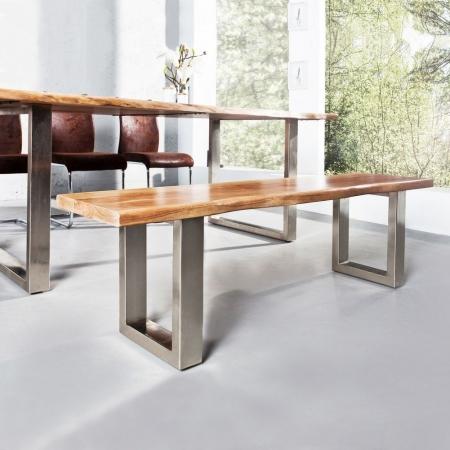 Sitzbank AMBA Natur massiv Akazienholz 160cm & 35mm Sitzplatte - 3