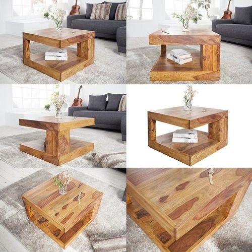 Couchtisch AGRA Sheesham massiv Holz gewachst 60cm x 60cm - 3