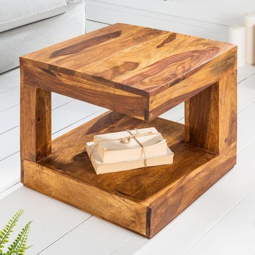 Couchtisch AGRA Sheesham massiv Holz gewachst 45cm x 45cm - 1