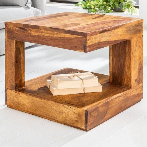 Couchtisch AGRA Sheesham massiv Holz gewachst 45cm x 45cm - 2