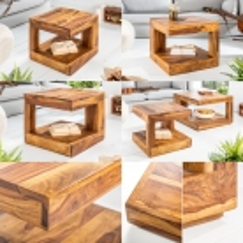 Couchtisch AGRA Sheesham massiv Holz gewachst 45cm x 45cm - 6