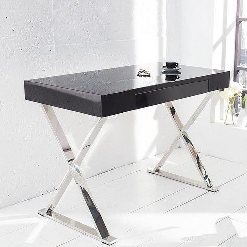 Schreibtisch LONDON Schwarz Hochglanz mit Schublade & Gestell Chrom 100cm x 55cm - 1