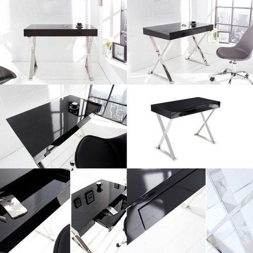 Schreibtisch LONDON Schwarz Hochglanz mit Schublade & Gestell Chrom 100cm x 55cm - 3