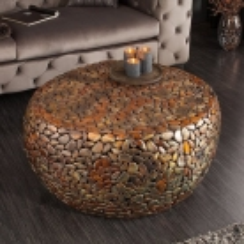 Couchtisch RAVENNA Kupfer aus Metallplättchen im Mosaik-Design handgefertigt 82cm Ø - 1