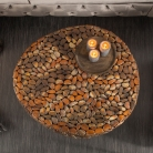 Couchtisch RAVENNA Kupfer aus Metallplättchen im Mosaik-Design handgefertigt 82cm Ø - 2