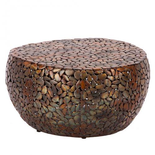Couchtisch RAVENNA Kupfer aus Metallplättchen im Mosaik-Design handgefertigt 82cm Ø - 3