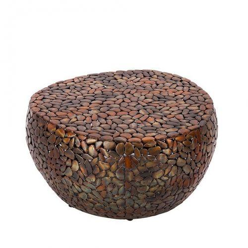 Couchtisch RAVENNA Kupfer aus Metallplättchen im Mosaik-Design handgefertigt 82cm Ø - 4