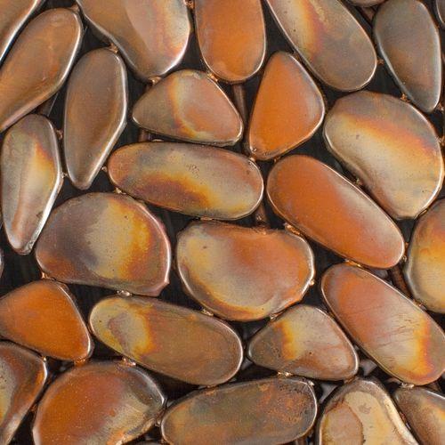 Couchtisch RAVENNA Kupfer aus Metallplättchen im Mosaik-Design handgefertigt 82cm Ø - 5