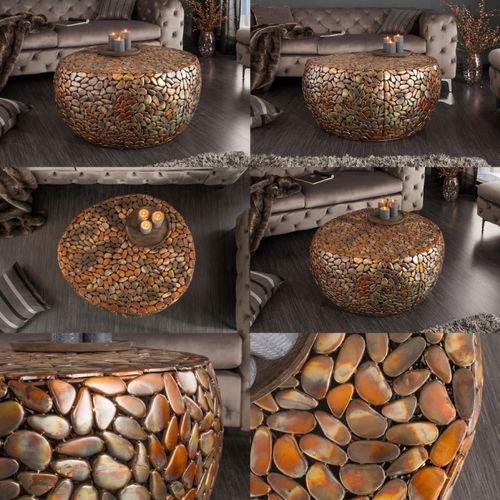 Couchtisch RAVENNA Kupfer aus Metallplättchen im Mosaik-Design handgefertigt 82cm Ø - 6