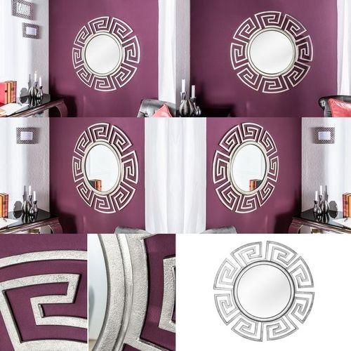Beeindruckender Wandspiegel OLYMP Silber mit griechischen Ornamenten 85cm Ø - 3